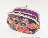Women's Wallet Frame Purse with Divider Kimono Floral Eggplant Purple Cherry Blossom