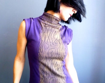 Sleeveless Cowl Top - iheartfink Handmade Hand Printed Womens Metallic Woodgrain Wearable Art Purple Print Jersey Top