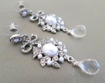 Bridal Crystal Drop Earrings, Pearl and Crystal Bridal Earrings, Pearl Chandelier Earrings Wedding, Bow Earrings Silver, Wedding Jewelry