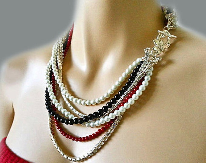 Black Pearl Necklace with Red and White