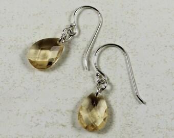 Vintage Topaz Glass Teardrop Sterling Silver Earrings