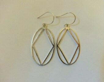 Oval and Diamond Silver Dangle Earrings