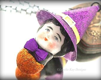 Morgan Witch Necklace Wearable Art Doll Frozen Charlotte China Head Doll Mixed Media Halloween Pendant or Ornament
