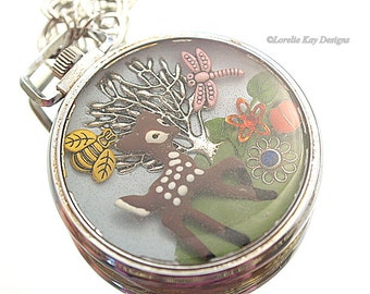 Spring Has Sprung Necklace Deer Forest Cast Resin One-of-a-Kind Watch Case Pendant