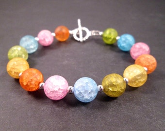 Gemstone Bracelet, Yellow Green Blue Pink Orange Crackle Quartz, Silver Beaded Bracelet, FREE Shipping U.S.