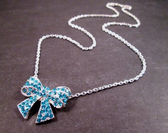 Rhinestone Bow Necklace, Aqua Blue Glass Rhinestones and Silver Bow, Pendant Necklace, FREE Shipping U.S.