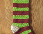 Holiday Crochet Christmas Stocking Striped Deep Red And Spring Green Victorian Chic Style Medium