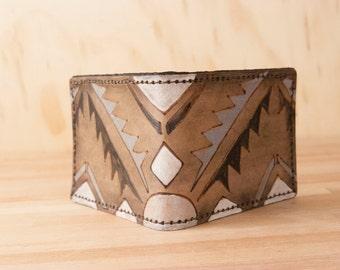 Wallet - Leather Wallet - Bifold Wallet - Mens Wallet - Southwest style - Geometric - Handmade in the Four Corners pattern in black + white