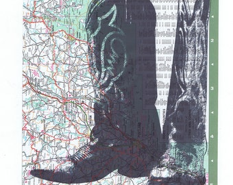 Cowboy Boots.Map.Collage.Atlas.Page Print,home deco,art.mom.dad.traveller.route.green.rodeo.fashion.cowgirl.eco.hippie.boho.art.western