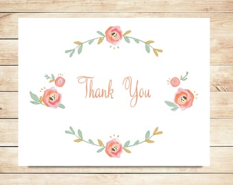 Flower Thank You Cards - Romantic, Blush Thank You Cards
