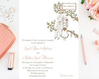 Bride and Groom Sitting in a Tree - Sweet, Unique Wedding Invitations