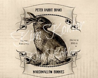 Rabbit Bunny Pantry Kitchen Can Labels Hang Tags Primitive Box Vintage Image Instant JPEG Digital Download Tag Label Doll Clothing Pillows