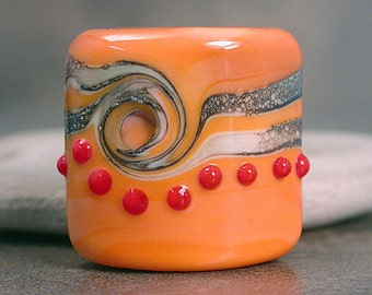 Lampwork Glass Focal Bead Square Nugget Divine Spark Designs SRA LeTeam