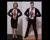 Bride and Groom Revealing Superhero Identities Wedding Cake Toppers - Personalized from your Photos - Custom Made