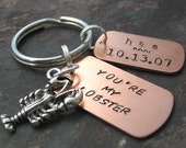 Personalized You're My Lobster Keychain with lobster charm, couples keychain, anniversary gift, valentine gift, significant other