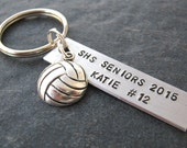 Personalized Volleyball Keychain, Senior gifts, Volleyball charm or choose your sport, bulk packages available, sports, team, coaches