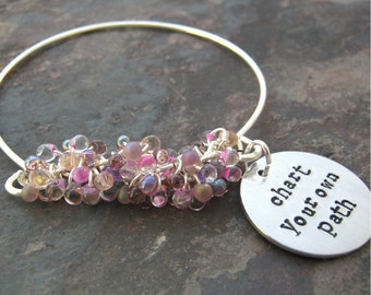 Chart Your Own Path Bracelet, Graduation gift, beaded silver bangle bracelet, lavender and lilac beads, read listing for sizing, personalize