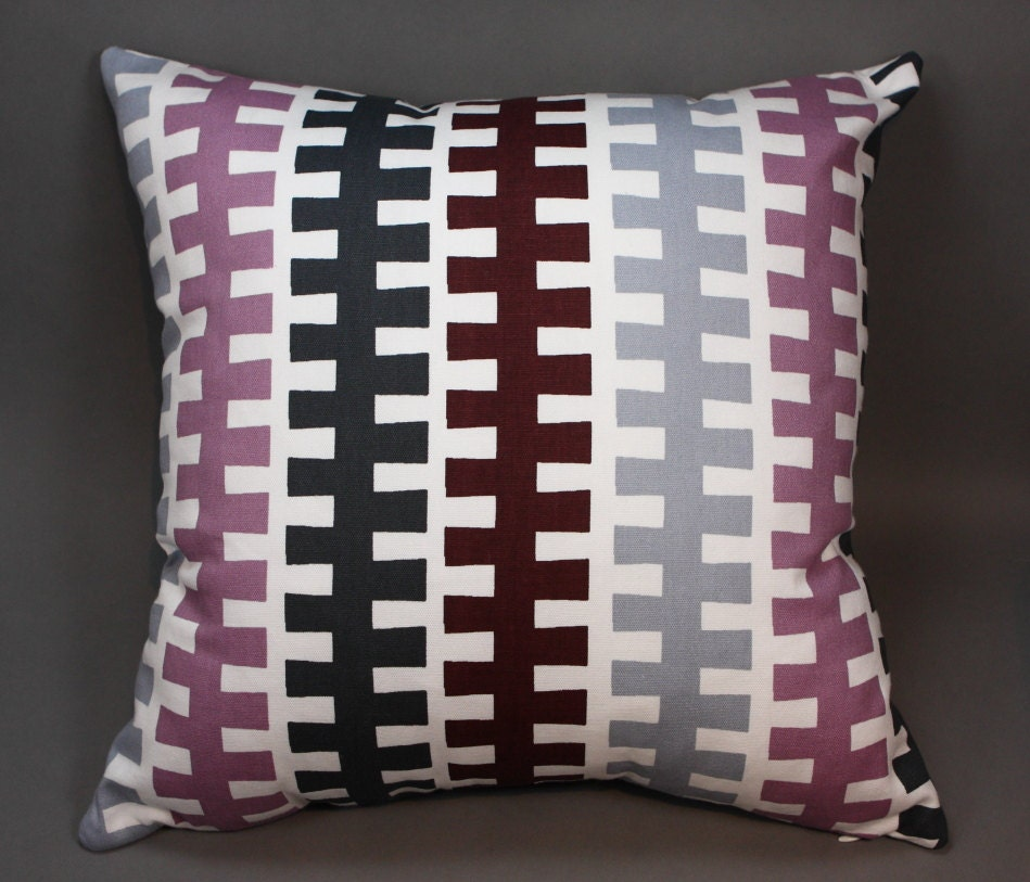Decorative Pillow Covers With Zippers : Off White Decorative Pillow Cover with Zipper Stripes by LenkArt