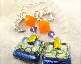 Moon and Stars earrings, Dichroic Glass Earrings, Fused glass jewelry, Hana Sakura, Unusual earrings, Handmade for women, silver charms