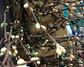 "Coffee Bean Pip Berry Garland 40"" long brown beige green primitive"