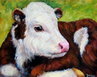 Holstein Cow Art, Farm Animal Print, Red and White calf, Painting by Dottie Dracos