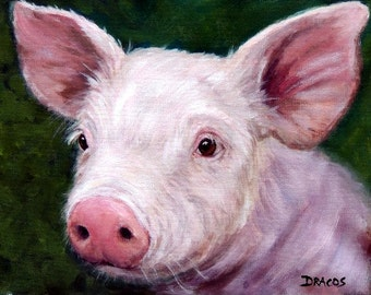 Pig Art Print of Original Painting by Dottie Dracos, Piglet Portrait,on Dark Green