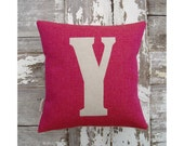 Mini letter cushion/pillow in pink with orange fleck basketweave cotton and applique' wool felt.