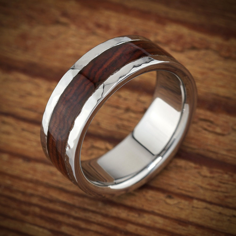 Titanium Wood Wedding Band Hammered Cocobolo Men's Ring By