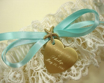 Personalized Starfish Beach Wedding Garter in Ivory Lace with Engraving and a Custom Color Bow