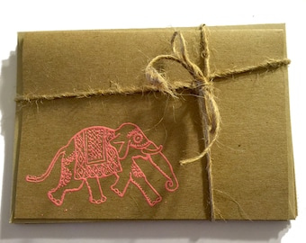 FREE Shipping Handmade Note Cards with Embossed Indian Elephant - Pink