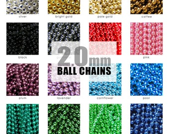 COLORED CHAINS. Fits All Aanraku Bails. 50 2.0mm Colored Ball Chains. Choose Your Colors, Any Mix.