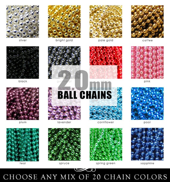 BALL CHAINS. 50 2.0mm Colored Ball Chains. Fits All Aanraku Bails. Choose Your Mix of Colors. Annie Howes