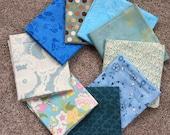 Fabric Destash no. 160 -- 9 Fat Quarters -- All Blue