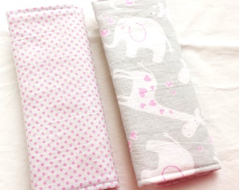 Reversible Car Seat Strap Covers - Pink & Gray Jungle Babies - Seatbelt covers