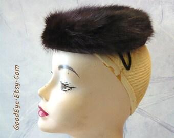 Vintage  Esther Welch MINK Cocktail Hat CLAMPER Little Pancake Bombshell New Look Dark Brown Fur 1950s