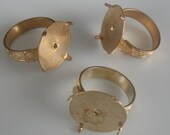3 gold tone ring blanks-adjustable ring blanks-ring findings