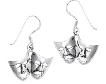Classic Theater Drama Masks Sterling Silver earrings comedy tragedy french wires or leverback settings ~ Gift box included