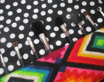 Makeup brush roll, makeup brush case, Crochet hook organizer , paintbrush roll