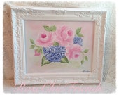 White Framed ART 14x11 Hand Painted PINK Roses Blue Hydranges Shabby Chic ecs cst schteam svfteam