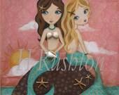 Sisters Art Print- Kids Mermaid Art- Mermaid Wall Art - Children Decor- Nautical decor-  Print Sizes 8x10 and 5x7