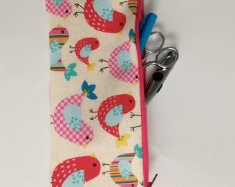pencil zipper pouch festive birds
