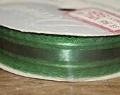 vintage decorette ribbon full  mid century ribbon   green  lace edged