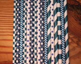 50 Navy Paper Straws, assorted patterns, Drinking, Event, Party, Straws