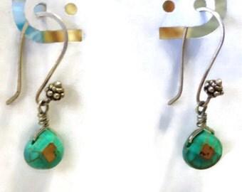 Boho style turquoise bead dangle earings