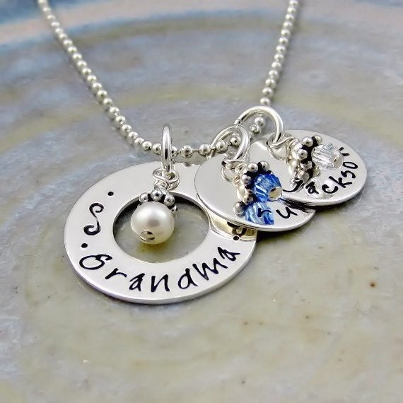 Grandma necklace personalized grandchildrens name birthstone for Grandmother jewelry you can add to