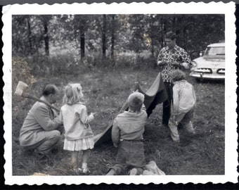 vintage photo 1960 Polaroid Memories of Dads Pitching Tent for Kids