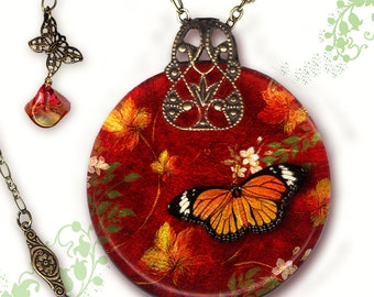 Petite Monarch Red Butterfly Shimmerz Necklace - Reversible Glass Art -  Victorian Garden Collection - Red Monarch Butterfly Garden