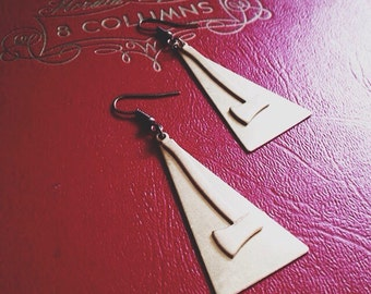 the axes - earrings  timbers brass triangle