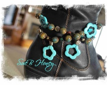 Boot Bling, bracelets for Boots in turquoise flowers