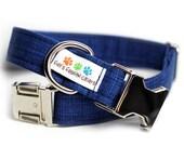 Navy Blue dog collar - Crosshatch Plaid - Nickel Dark Blue Jeans